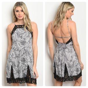 Dresses & Skirts - Lace trim paisley mini dress